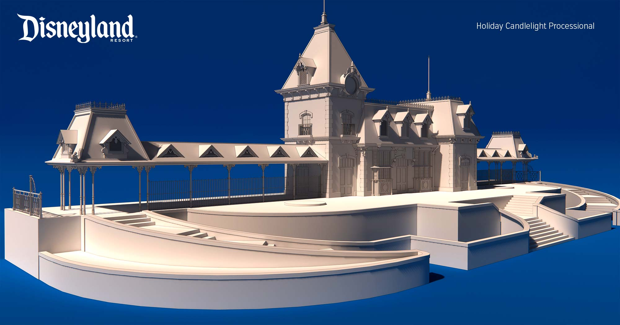 disneyland main street train station - 3d model